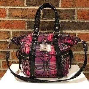 Coach Poppy Plaid & Black Glitter Convertible Bag